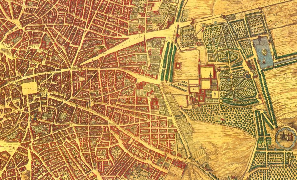 Centro de Madrid según el Plano de  Pedro Texeira de 1656